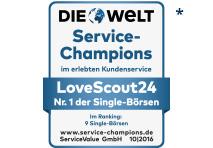 Die Welt Service-Champions: Nr.1 der Singlebörsen