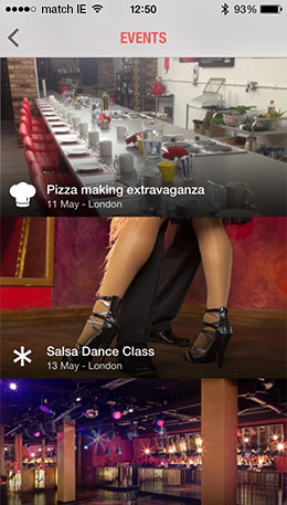 Events screen on the match.com mobile app