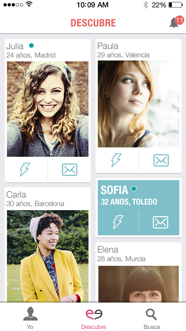 Descubre screen on the Meetic mobile app