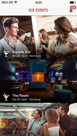 Events in der NEU.DE Mobile App